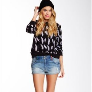 Wildfox Distressed Michelle Slouchy Denim Shorts